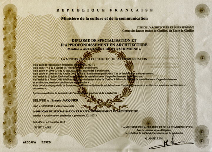 francis jacquier, chaillot, diplome